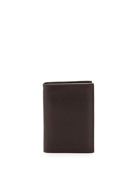 Brunello Cucinelli Leather Card Holder Wallet, Brown