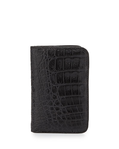 Crocodile Fold-Over Card Case, Black