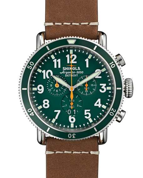 Shinola47mm Runwell Sport Chronograph Watch, Brown/Green