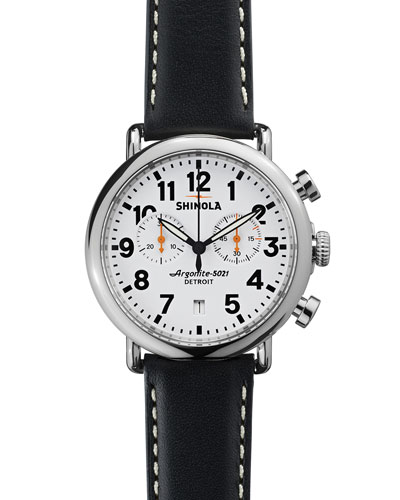 Shinola 41mm Runwell Chrono Watch, Black/White