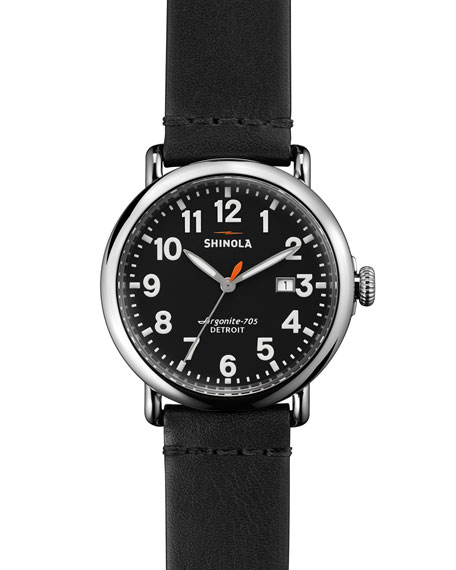 Men's 41mm Runwell Leather Watch, Black