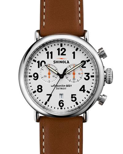 Shinola 41mm Runwell Chrono Watch, Brown/White