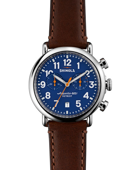 The Runwell Dark Brown Leather Strap Chronograph Watch, 41Mm, Dark Brown/ Blue