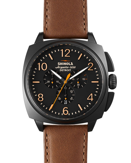 Shinola 46mm Brakeman Chronograph Watch, Black/Brown