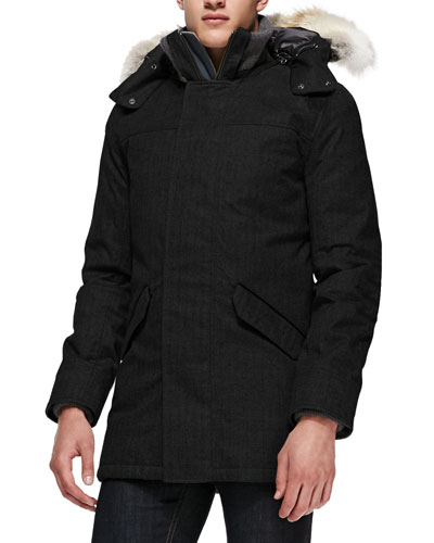 Branta Trento Parka with Fur Hood, Black