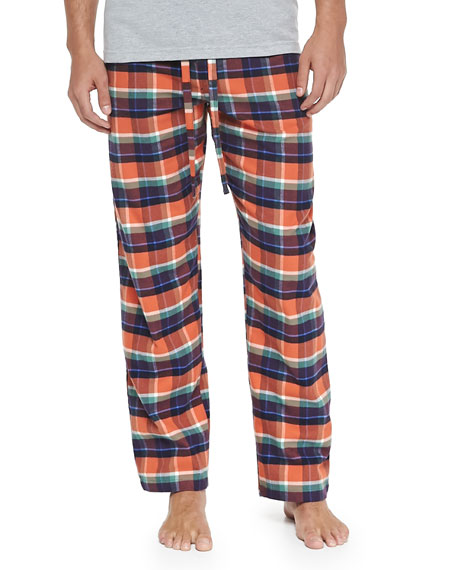 Neiman Marcus Plaid Two-Piece Pajama Set, Orange