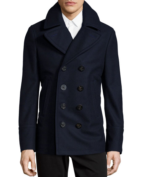 Burberry Wool/Cashmere Pea Coat, Navy