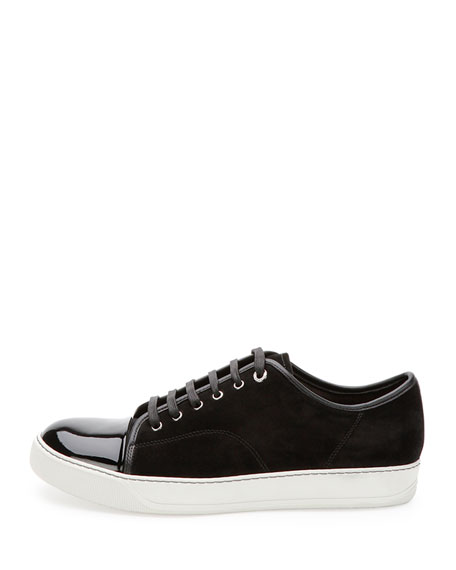Lanvin Suede & Patent Leather Low-Top Sneaker, Black