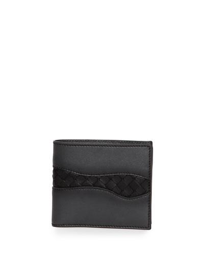 Glimmer Woven-Detail Lambskin Wallet