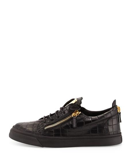 Men's Croc-Embossed Low-Top Sneakers