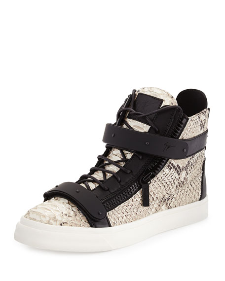 Giuseppe Zanotti Men's Snake-Print High-Top Sneaker, Natural