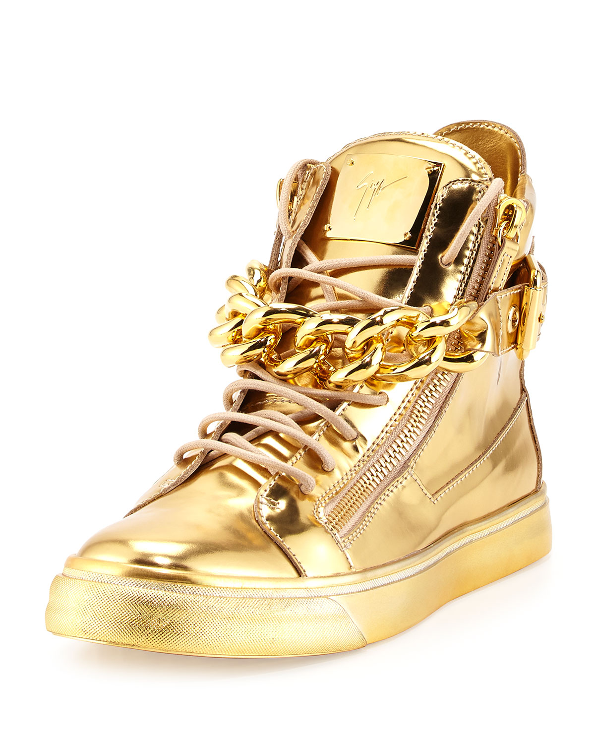 Giuseppe Zanotti Men s Metallic Chain   Zipper High-Top Sneaker ... e9513e69c