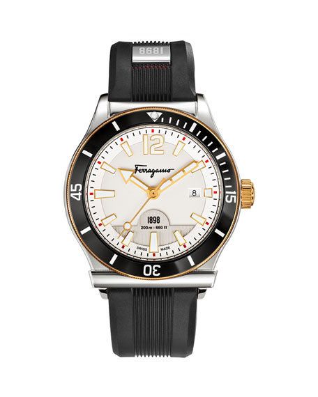 Salvatore Ferragamo 1898 Rubber-Strap Sport Watch, Black/Silver