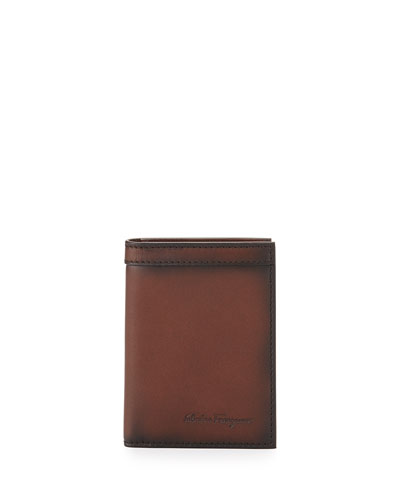 Hand-Burnished Leather Wallet, Brown