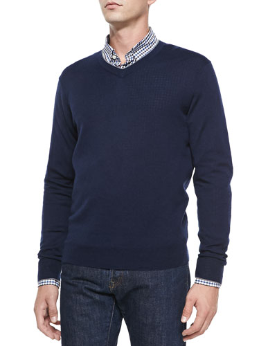 Cashmere-Silk V-Neck Sweater, Navy/Gray
