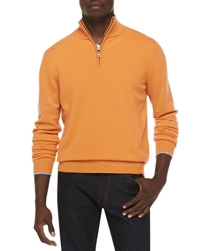 Cashmere Cloud Quarter-Zip Sweater, Orange