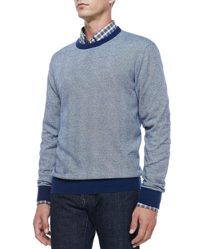 Cotton/Cashmere Striped Sweater, Navy/White