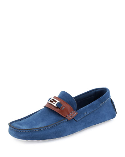 Victorio Zucca-Buckle Leather Driver, Navy