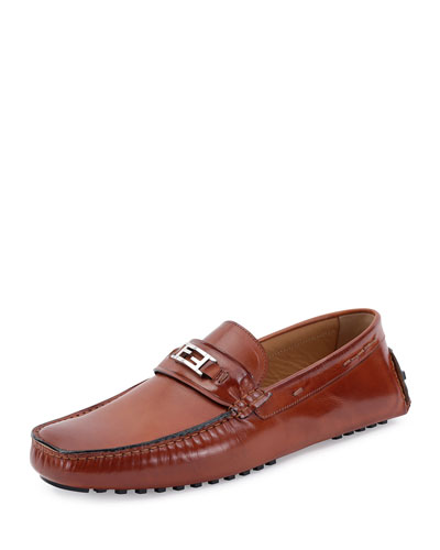 Victorio Zucca-Buckle Leather Driver, Brown