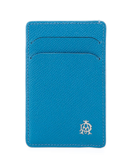 dunhill Bourdon Leather Card Case, Turquoise