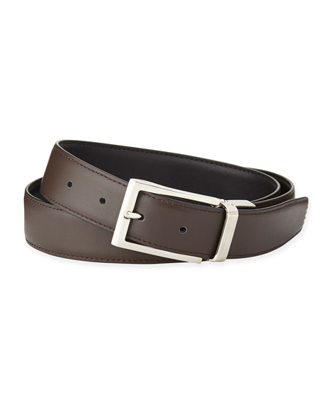 Reversible Belt w/Polished Buckle, Black/Dark Brown