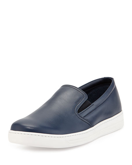 Prada Leather Slip-On Sneaker, Navy
