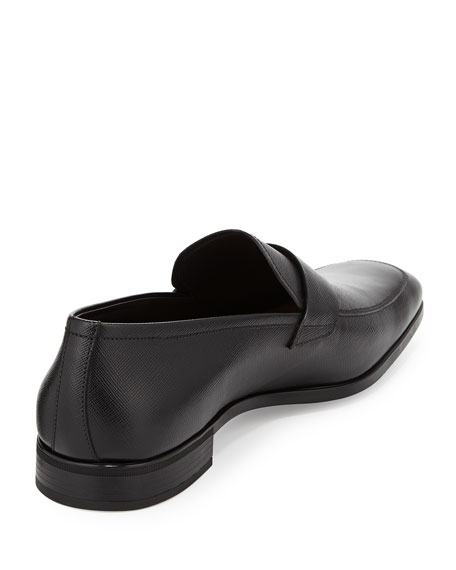 Saffiano Penny Loafer, Black