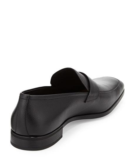 Saffiano Penny Loafer, Black
