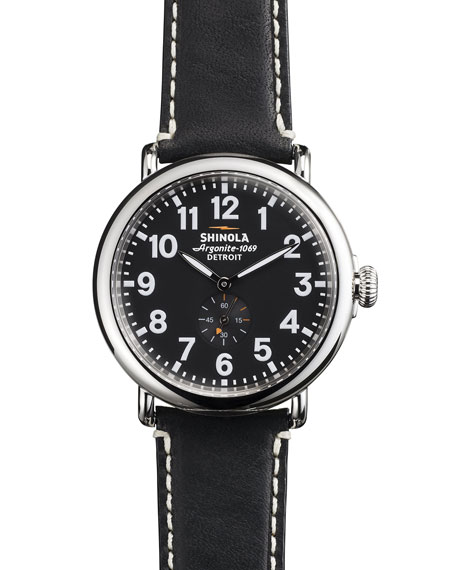 Men's 41mm Runwell Men's Watch, Black/Black