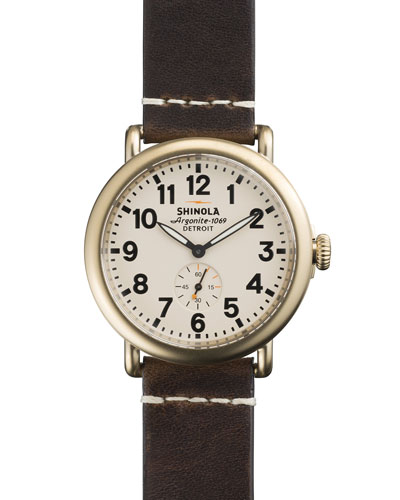 41mm Runwell Men's Watch, Ivory/Brown