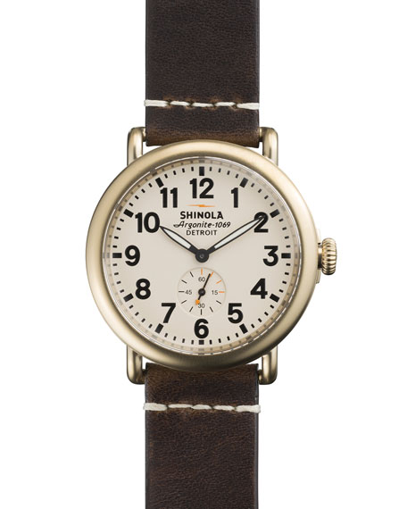 41mm Runwell Men's Watch, Ivory/Brown