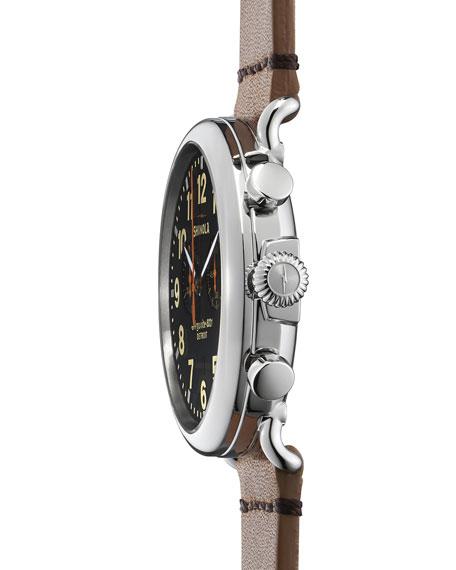 Men's 47mm Runwell Chronograph Men's Watch, Black/Tan