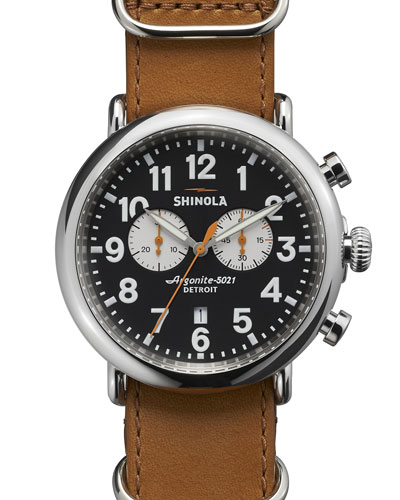 47mm Runwell Chronograph Men's Watch, Black/Tan