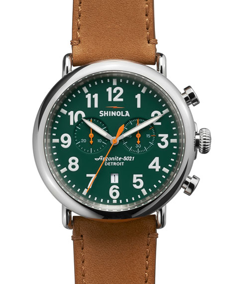 Shinola 47mm Runwell Chronograph Men's Watch, Green/Tan