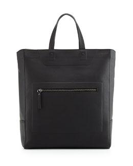 Leather Zip-Top Tote Bag, Black