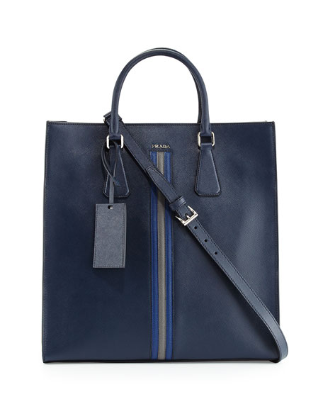 Prada Large Saffiano Travel Tote Bag, Navy