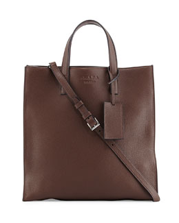 Leather Open-Top Shopper, Brown