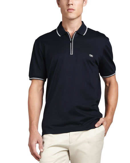 Salvatore Ferragamo Men's Cotton Pique Zip Polo Shirt with Gancini Chest Embroidery, Navy/White