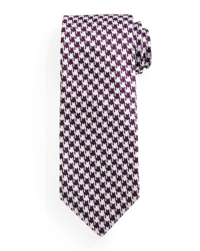 Houndstooth Jacquard Tie, Purple/Cream