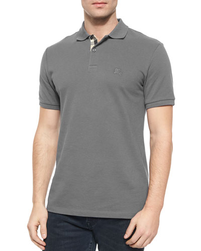 Short-Sleeve Pique Polo Shirt, Steel Blue