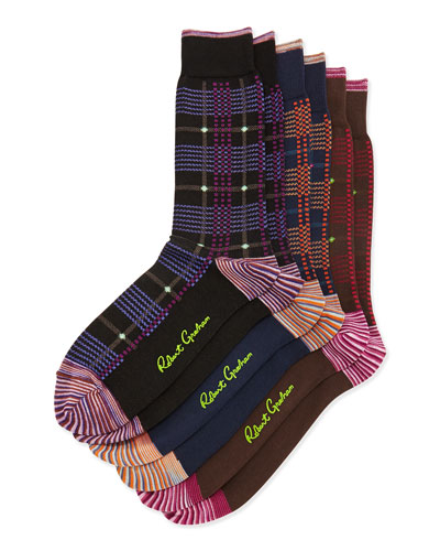 Glow Worm 3-Pack Plaid Socks, Black/Navy/Brown