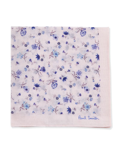 Floral-Print Pocket Square, Pink/Blue