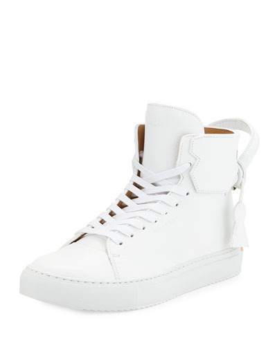 Buscemi 125mm High-Top Leather Sneaker with Padlock, White