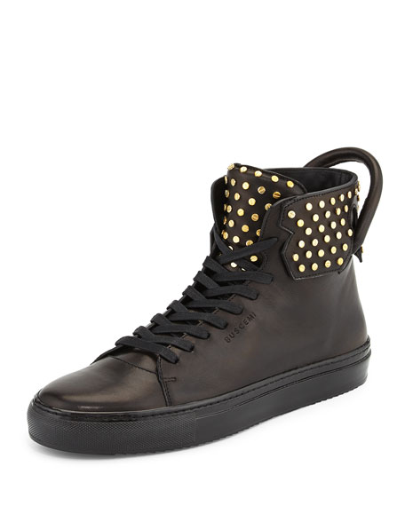 Buscemi 125mm High-Top Leather Sneaker with Screws, Black