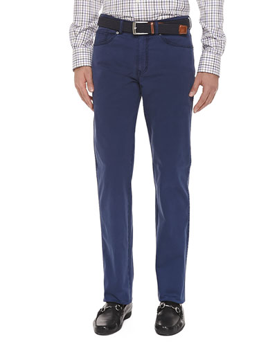 5-Pocket Stretch-Cotton Trousers, Navy
