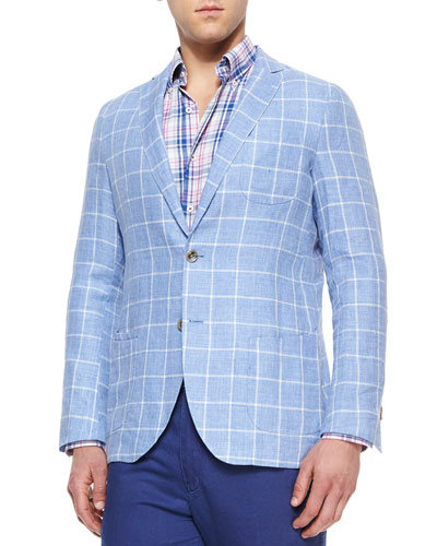Windowpane Linen Sport Coat, Blue