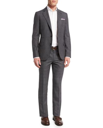 Plaid Wool Suit, Medium Gray