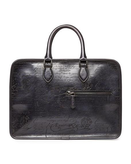 Berluti Scritto Leather Briefcase, Black