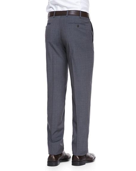 Virgin-Wool Flat-Front Dress Pants, Blue Tan
