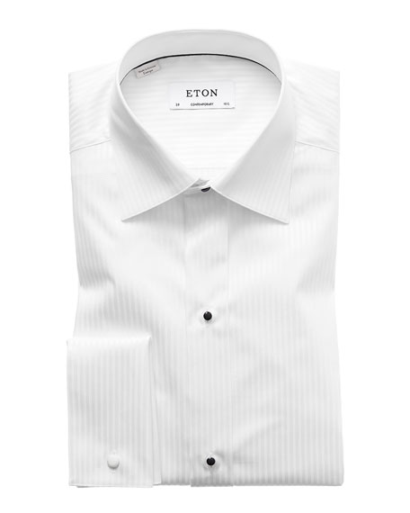 White-on-White Striped Dress Shirt